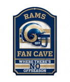 "Los Angeles Rams Fan Cave 11"" X 17"" Wood Sign"