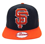San Francisco Giants New Era Logo Grand Snapback Cap Hat Charcoal Orange