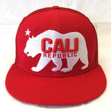 California Republic Snapback Whang White Bear Trucker Cap Hat Red