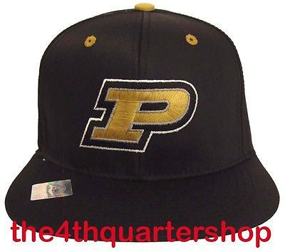 Purdue Boilermakers Snapback Retro Logo Cap Hat All Black