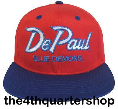 De Paul University Blue Demons Snapback Retro 2 Tone Script Cap Hat Red Blue