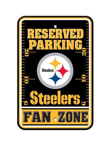 "Pittsburgh Steelers Plastic 12""x18"" Team Fan Zone Parking Sign"