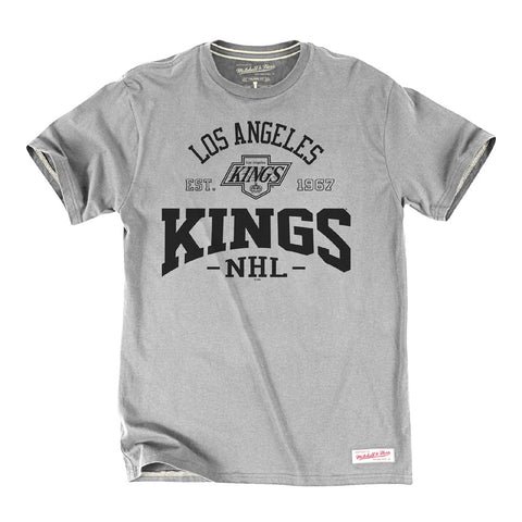 Los Angeles Kings Mens Mitchell & Ness 2nd Period T-Shirt Grey 2X-Large