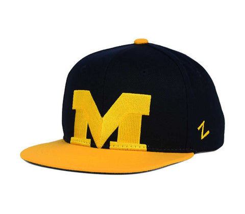 Michigan Wolverines Snapback Zephyr Youth Peek Cap Hat Navy Yellow