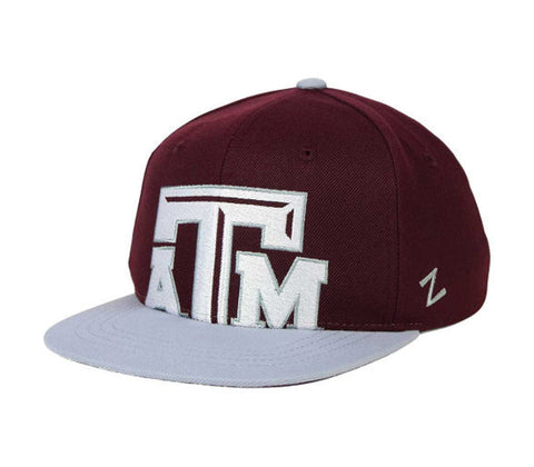 Texas A&M Aggies Snapback Zephyr Youth Peek Cap Hat Burgundy Grey