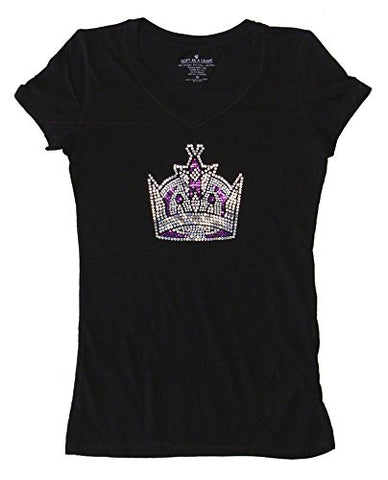 Los Angeles Kings Womens Ladies Sparkle Crown Logo V Neck T-Shirt Blouse Black