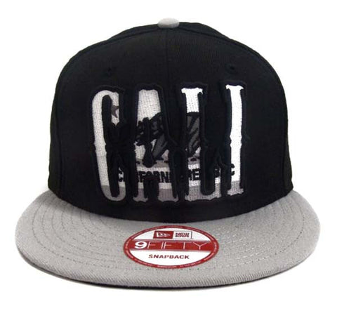 California Republic Snapback New Era CALI Retro Cap Hat 2 Tone Black Grey