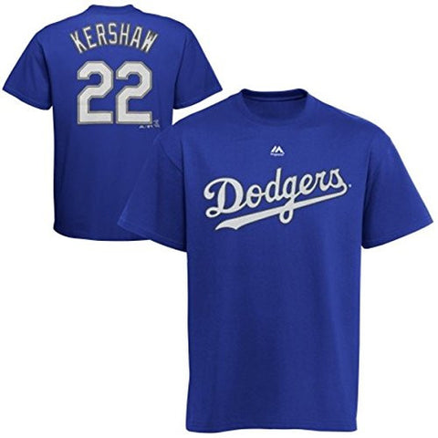 Los Angeles Dodgers Youth Majestic #22 Kershaw Stitch T-Shirt Blue