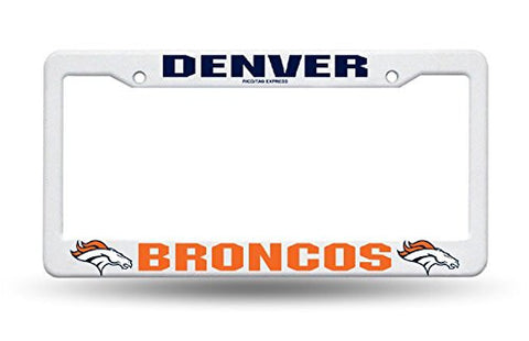 Denver Broncos White Plastic License Plate Frame