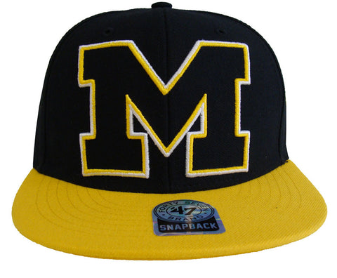 Michigan Wolverines Snapback 47 Blackout Retro Cap Hat 2 Tone Black Yellow