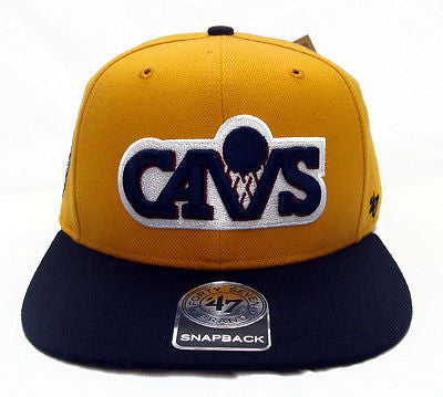 Cleveland Cavaliers Snapback '47 Brand Sure Shot Cap Hat Yellow Navy