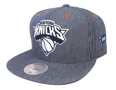 New York Knicks Snapback Style Strapback Mitchell & Ness Ball Engineer Denim Hat