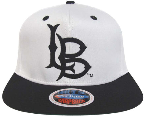 Cal State Long Beach Snapback Logo Retro Cap Hat 2 Tone White Black