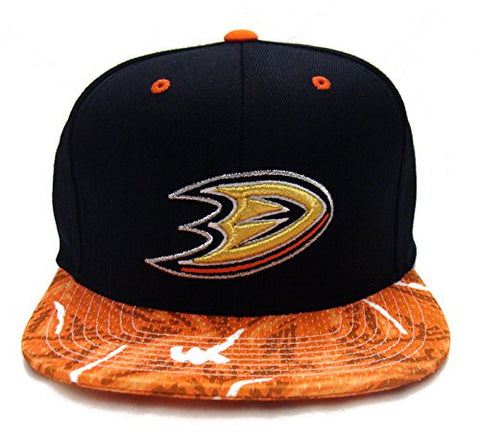 Anaheim Ducks Snapback Mitchell & Ness Team Color Stroke Cap Hat Black Orange