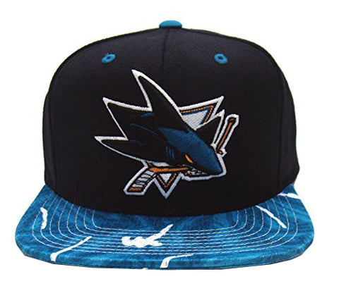 San Jose Sharks Snapback Mitchell & Ness Team Color Stroke Cap Hat Black Teal