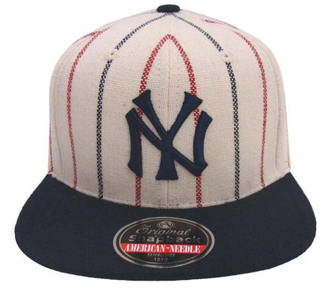 New York Yankees Snapback Retro AN Replica Navy Red Pinstripe Cap Hat 2 Tone