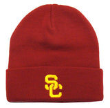USC Trojans Beanie Embroidered SC Ski Fold Cap Red