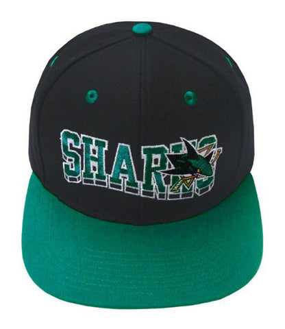 San Jose Sharks Snapback Retro SL Cap Hat Black Green