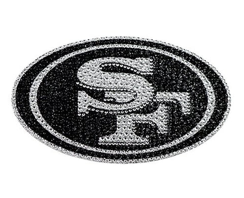 San Francisco 49ers Decal XL Logo Black & White Auto Bling Rhinestone
