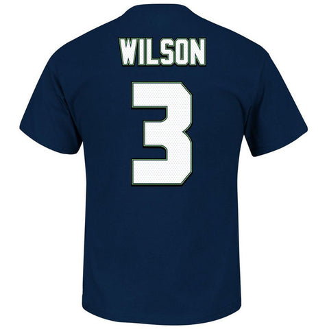 cf1b75833 Seattle Seahawks Majestic  3 Russell Wilson Super Bowl XLIV T-Shirt Navy