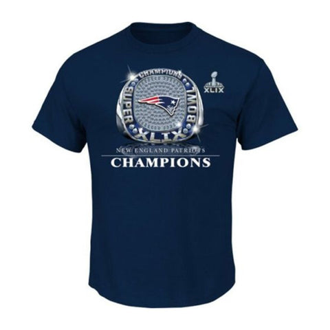 New England Patriots Mens Majestic Super Bowl XLIV Victory Bling T-Shirt Navy