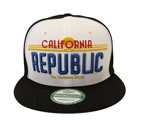 California Republic Snapback Whang Licence Cap Hat Black