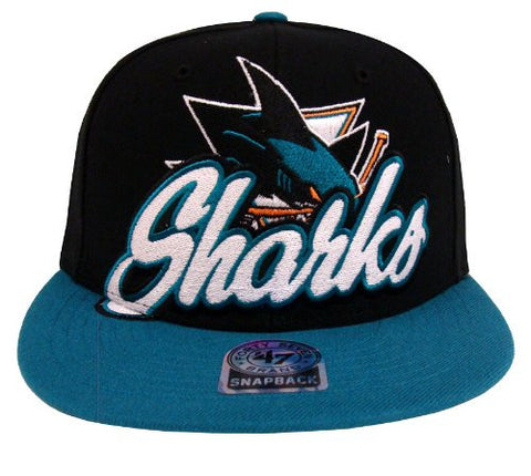 San Jose Sharks Snapback 47 Brand Retro Slam Dunk Hat Cap Black Blue