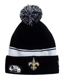 New Orleans Saints New Era 2 in 1 Cuff Flip Embroidered Pom Beanie Black