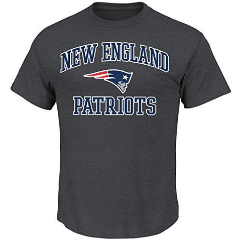 New England Patriots Mens Heart & Soul T-Shirt Charcoal Grey