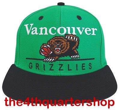 Vancouver Grizzlies Snapback Dash Retro Cap Hat Teal Black