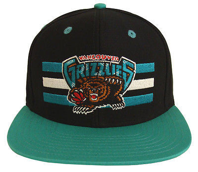 Vancouver Grizzlies Snapback Retro Billboard Cap Hat Black Teal