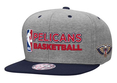 New Orleans Pelicans Snapback Mitchell & Ness Heather Jersey Cap Hat Grey Navy