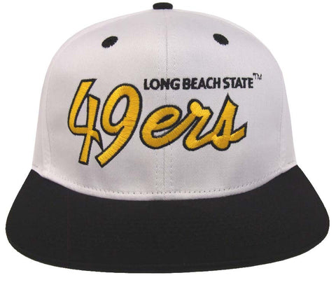 Cal State Long Beach Snapback Script Retro Cap Hat 2 Tone White Black