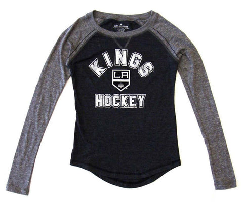 Los Angeles Kings Womens Tribend Baseball Long Sleeve T-Shirt Blouse Char Grey