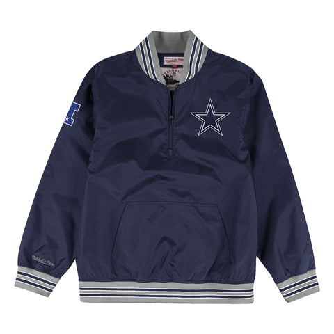Dallas Cowboys Mens Mitchell & Ness 1/4 Zip Nylon Pullover Windbreaker Jacket