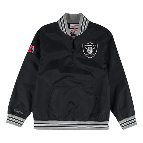 Oakland Raiders Mens Jacket Mitchell & Ness 1/4 Zip Nylon Pullover Windbreaker