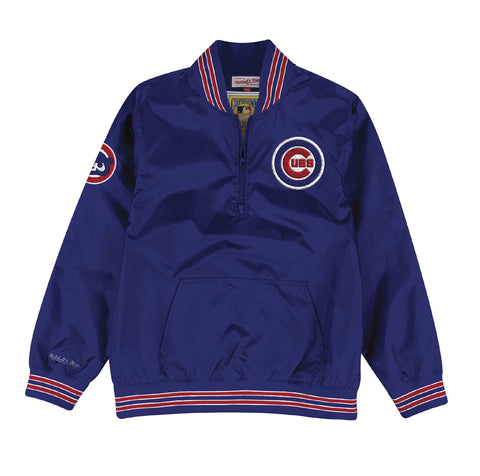 Chicago Cubs Mens Mitchell & Ness 1/4 Zip Nylon Pullover Windbreaker Jacket