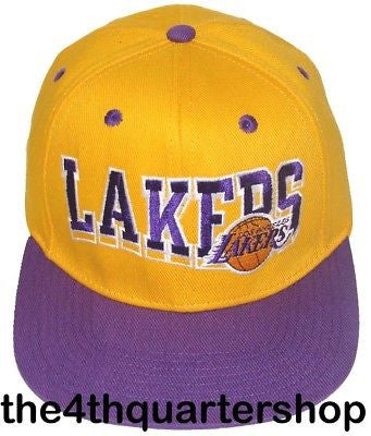 Los Angeles Lakers Snapback Retro Cap Hat Script YLW PRP