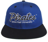 Seton Hall University Pirates Snapback Retro 2 Tone Script Cap Hat Blue Black