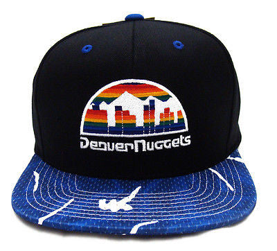 Denver Nuggets Snapback Mitchell & Ness Team Color Stroke Cap Hat Black Blue