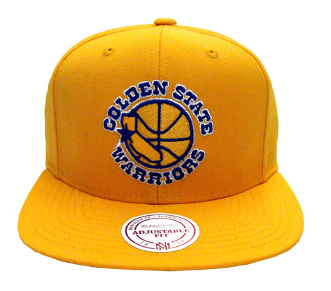 Golden State Warriors Mithell & Ness Logo Snapback Cap Hat Yellow