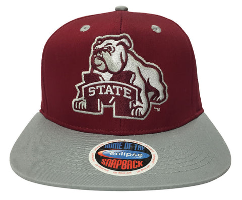 Mississippi State Bulldogs Snapback Retro Mascot And Logo Cap Hat Burgundy Grey