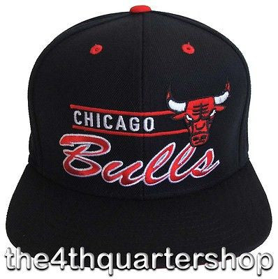 Chicago Bulls Snapback Retro Adidas Line Cap Hat All Black
