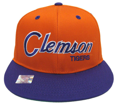 Clemson Tigers Script Snapback Cap Hat 2 Tone Orange Purple