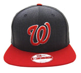 Washington Nationals Snapback New Era Heather Graphite Cap Hat Charcoal Red