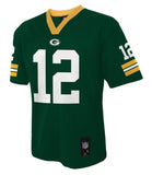Green Bay Packers #12 Rodgers Youth 8-20 Green Name & Number Jersey