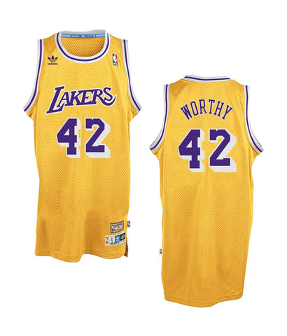 Los Angeles Lakers Mens Jersey Adidas #42 James Worthy Swingman Yellow