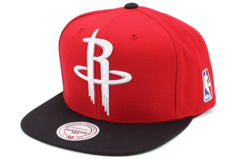 Houston Rockets Mitchell & Ness Retro Snapback Cap Hat XL Logo Red Black