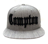 Compton Old English Snapback Cap Hat Grey Wool