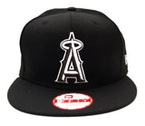 Anaheim Angels New Era Black Logo White Outline Snapback Cap Hat Black